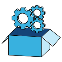 Icons- Settings gears coming out of a box